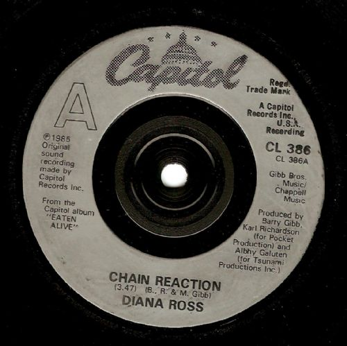 DIANA ROSS Chain Reaction Vinyl Record 7 Inch Capitol 1985